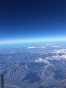 7月27日オークランドからクライストチャーチへの国内線上空。南島の山並み